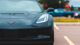 chevrolet corvette, car, sports car, black, front view - wallpapers, picture