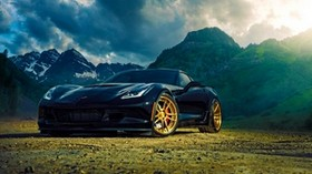 chevrolet, corvette, z06, blue, side view, mountains - wallpapers, picture