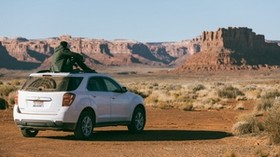 chevrolet equinox, man, valley, loneliness, mountains - wallpapers, picture