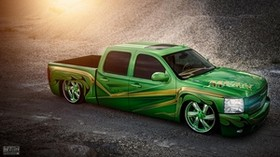 chevrolet, silverado, lowrider, pickup, green - wallpapers, picture