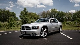 dodge charger srt8, supercar, iconic car, silver, tuning, functional hood - wallpapers, picture