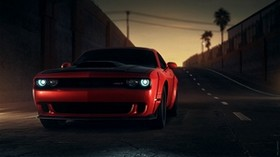 dodge srt, dodge, sports car, red, front view, lights - wallpapers, picture