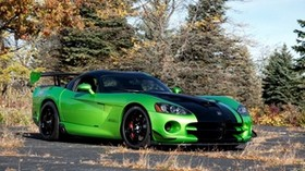 dodge, viper, acr snakeskin edition, auto, dodge, viper, green, overpass, sky - wallpapers, picture