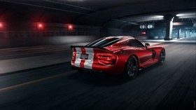 dodge viper srt, dodge, sports car, red, side view, night, tunnel, asphalt - wallpapers, picture