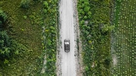 road, car, top view, grass - wallpapers, picture