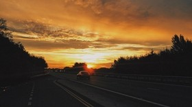 road, car, sunset, movement - wallpapers, picture