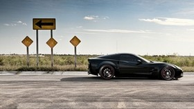 road, movement, auto, black, corvette - wallpapers, picture
