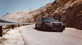 auto, road, movement, front view, mountains - wallpapers, picture