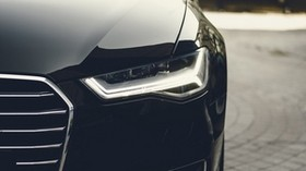 headlight, car, black, front view - wallpapers, picture
