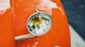 headlight, car, orange, retro - wallpapers, picture