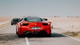 ferrari 458, ferrari, red, sports car, rear view, road, movement - wallpapers, picture