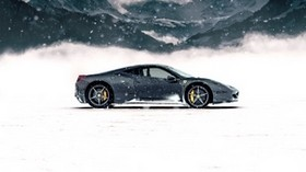 ferrari 458 italia, ferrari, sports car, gray, side view, snow, mountains, winter - wallpapers, picture