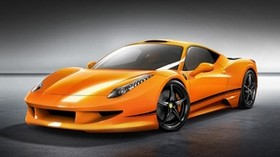 ferrari, 458, italia, orange, front view - wallpapers, picture