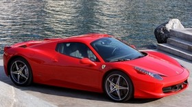 ferrari, 458 italia, spider, red, car, shore - wallpapers, picture