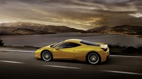 ferrari 458 italia, yellow, auto, side view, speed - wallpapers, picture