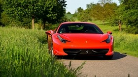 ferrari 458, red, front view - wallpapers, picture