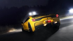 ferrari, 458 speciale, yellow, headlights, rear view - wallpapers, picture
