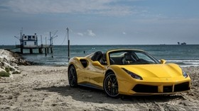 ferrari, 488, spider, yellow, side view - wallpapers, picture