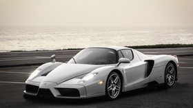 ferrari, enzo, silver, sea, background - wallpapers, picture