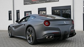 ferrari, f12, berlinetta, rear view, black - wallpapers, picture