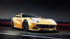 ferrari, f12, berlinetta, yellow, side view - wallpapers, picture