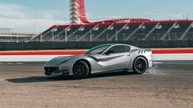 ferrari f12, ferrari, car, sports car, gray, side view, track - wallpapers, picture