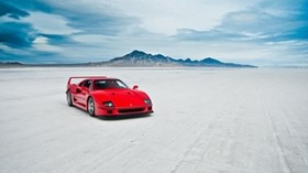 ferrari f40, lake, car - wallpapers, picture