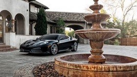 ferrari, f430, black, side view, fountain - wallpapers, picture