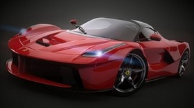 ferrari, laferrari, 2014, red, side view - wallpapers, picture