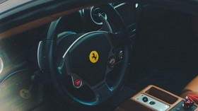 ferrari, car, salon, steering wheel, leather - wallpapers, picture