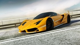 ferrari, render, f706 yellow, side view - wallpapers, picture