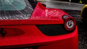 ferrari, sports car, red, drops, moisture - wallpapers, picture