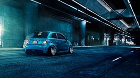 fiat, 500, abarth, blue, rear view - wallpapers, picture
