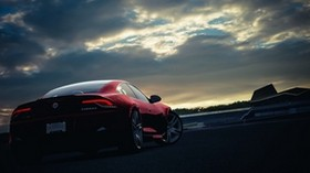 fisker, karma, machine, sunset, night, sky, red - wallpapers, picture