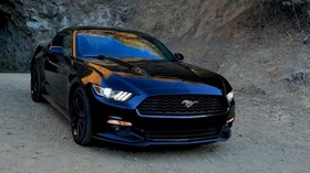ford, ford, mustang, black, front view, sports car - wallpapers, picture