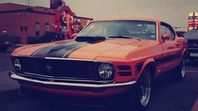 ford mustang, boss 302, auto, red - wallpapers, picture