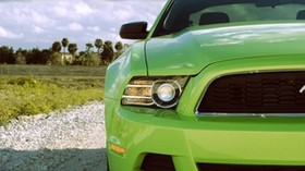 ford mustang, headlight, green, front view, sports car - wallpapers, picture