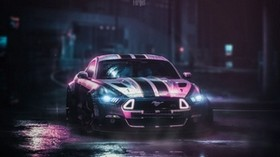 ford mustang gtr, ford, machine, neon, night, wet - wallpapers, picture