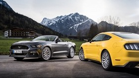 ford mustang, convertible, mountains, yellow, silver - wallpapers, picture