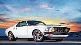 ford mustang, muscle car, white, side view - wallpapers, picture