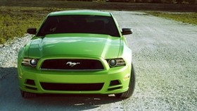 ford mustang v6, ford mustang, lime, green, front view - wallpapers, picture