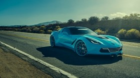forgiato, corvette, chevrolet, blue, side view - wallpapers, picture