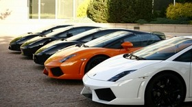 gayardo, trees, black, white, lamborghini, building, lamborghini, orange - wallpapers, picture