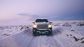 gms sierra, gms, pickup, SUV, black, front view, snow, winter, off road - wallpapers, picture