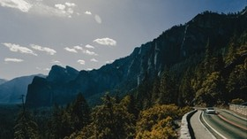 mountains, road, car, movement - wallpapers, picture