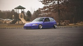 honda civic, purple, side view - wallpapers, picture