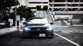 honda, civic, si, black, front view, city - wallpapers, picture
