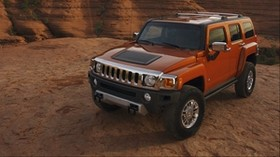 hummer h3, hummer, red, side view - wallpapers, picture