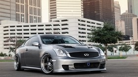 infiniti g35, gray, city, light - wallpapers, picture