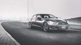 infiniti q50, side view, bw - wallpapers, picture